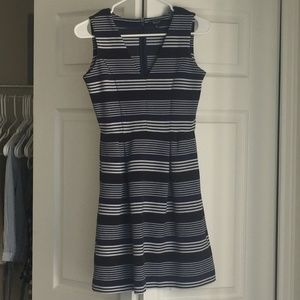 Madewell Gallerist Ponte V-Neck Dress in Stripemix
